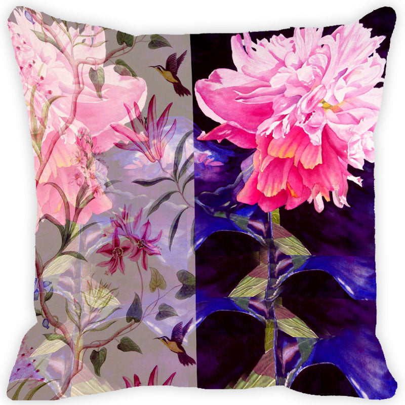 Leaf Designs Pink & Purple Vintage Cushion Cover