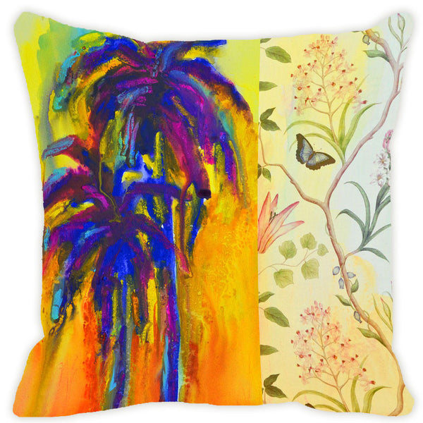 Leaf Designs Bright Blue Cushion Cover