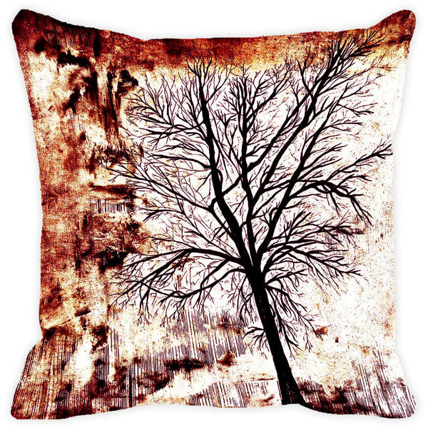 Leaf Designs Brown Tree Cushion Cover