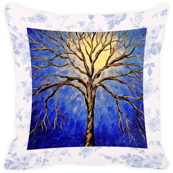 Leaf Designs Yellow & Blue Tree Cushion Cover
