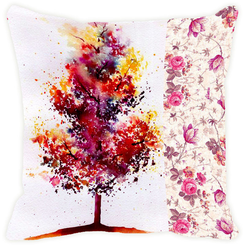 Leaf Designs Red & Yellow Tree Cushion Cover