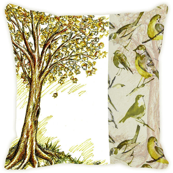 Leaf Designs Pale Green Tree Cushion Cover