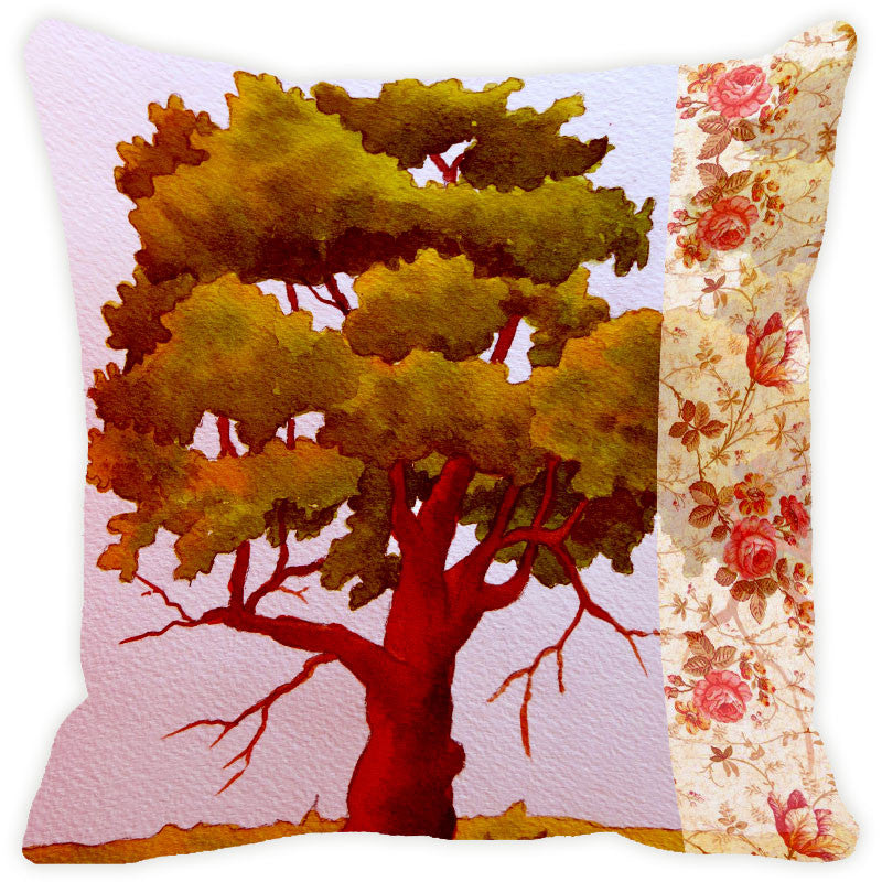 Leaf Designs Green & Brick Red Tree Cushion Cover
