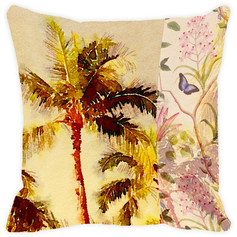 Leaf Designs Green & Yellow Tree Cushion Cover
