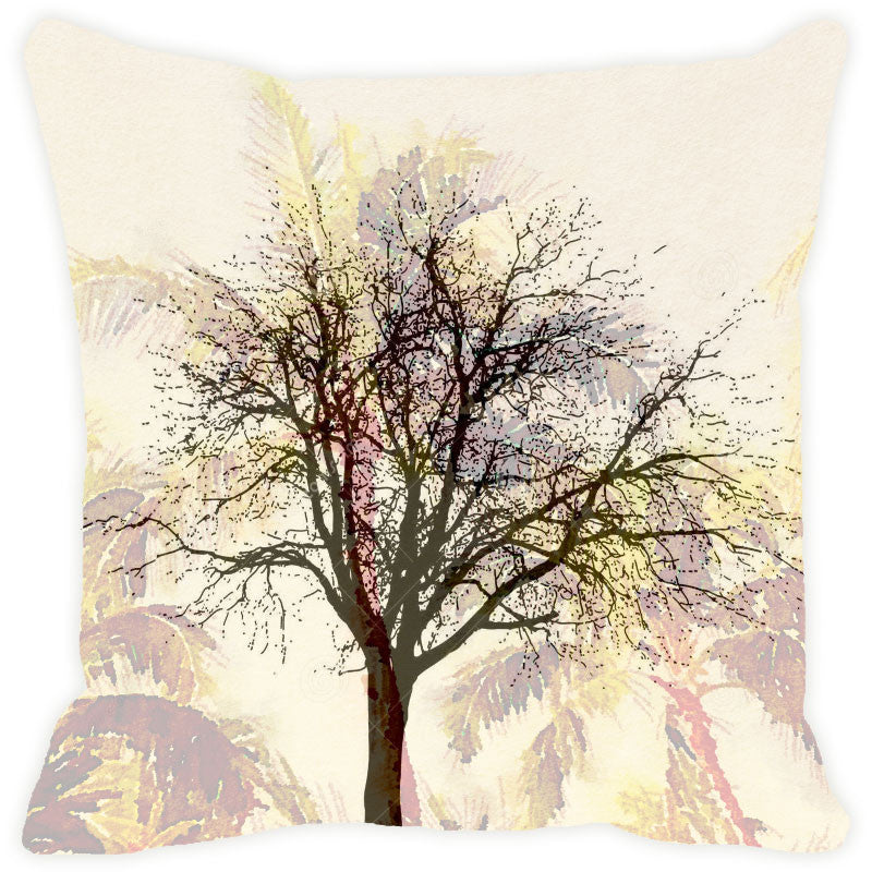 Leaf Designs Cream Tree Cushion Cover