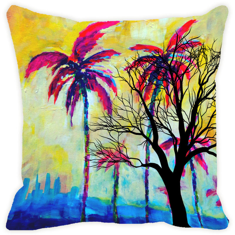 Leaf Designs Yellow & Magenta Tree Cushion Cover