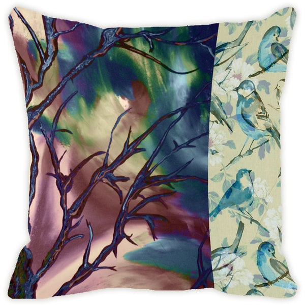 Leaf Designs Blue & Brown Tree Cushion Cover