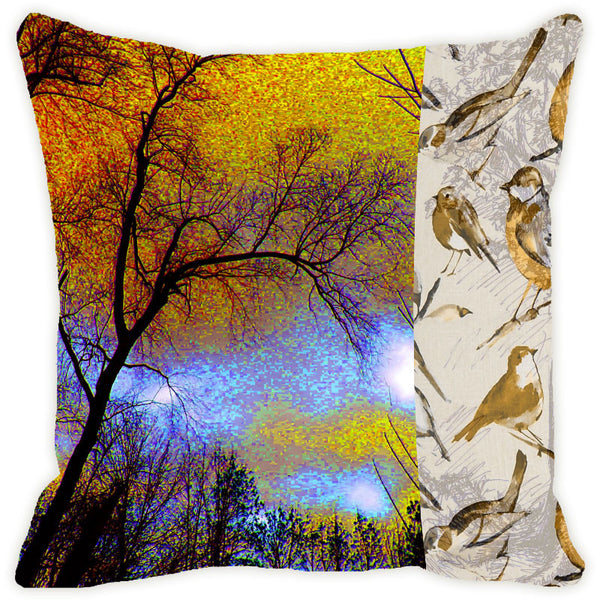 Leaf Designs Yellow & Beige Tree Cushion Cover