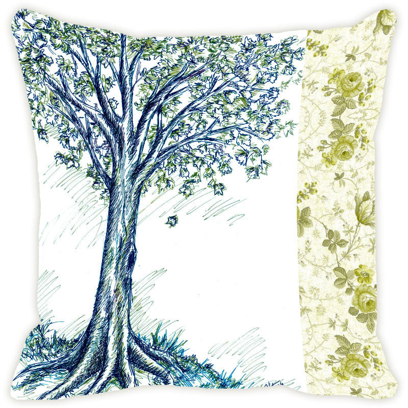 Leaf Designs Blue Tones Tree Cushion Cover