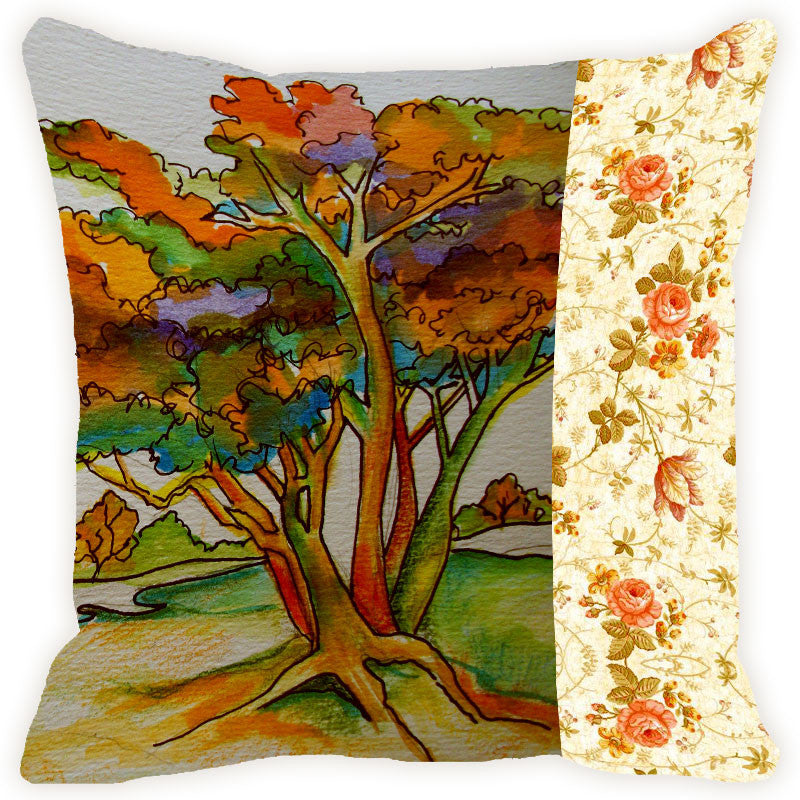 Leaf Designs Orange Tones Tree Cushion Cover