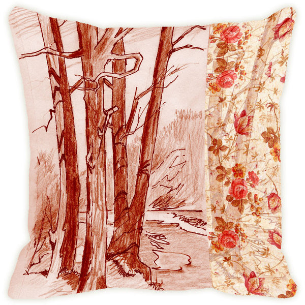 Leaf Designs Sepia Tree Cushion Cover