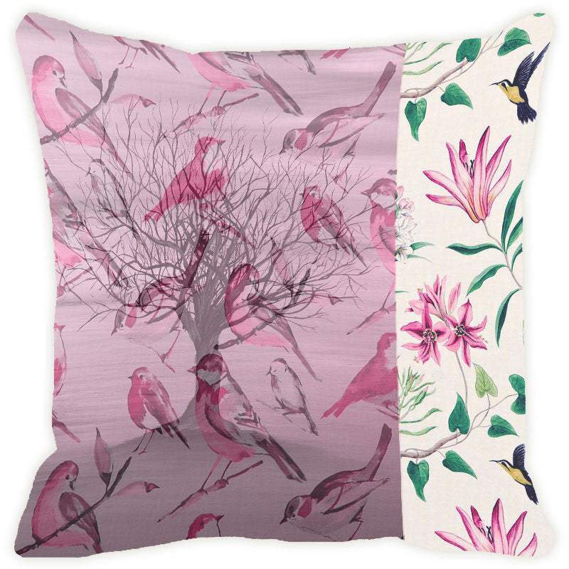 Leaf Designs Pink Tones Tree Cushion Cover