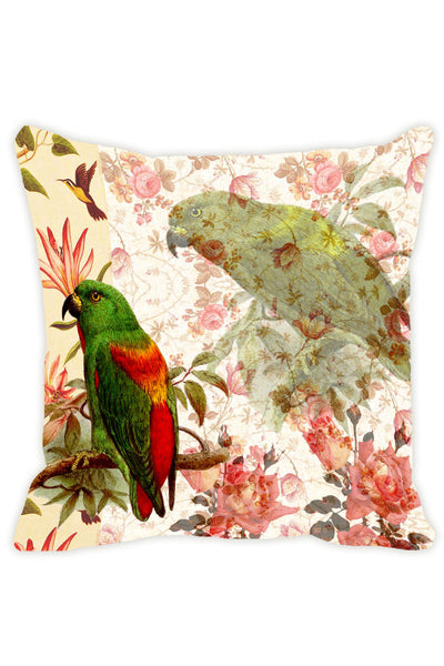 Leaf Designs Off White Parrot Cushion Cover - Set Of 2