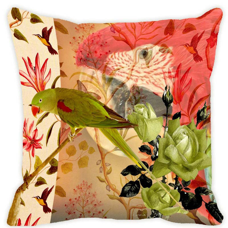 Leaf Designs Taupe Parrot Cushion Cover