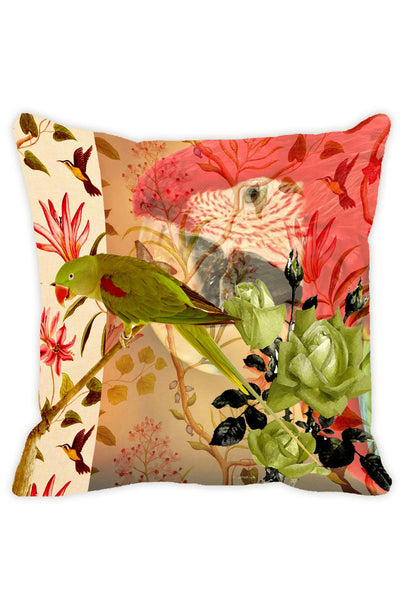 Leaf Designs Taupe Parrot Cushion Cover - Set Of 2