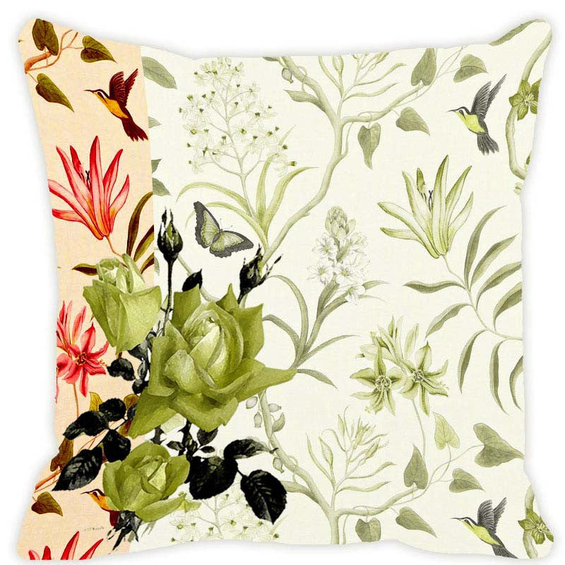 Leaf Designs Light Green Blossom Cushion Cover