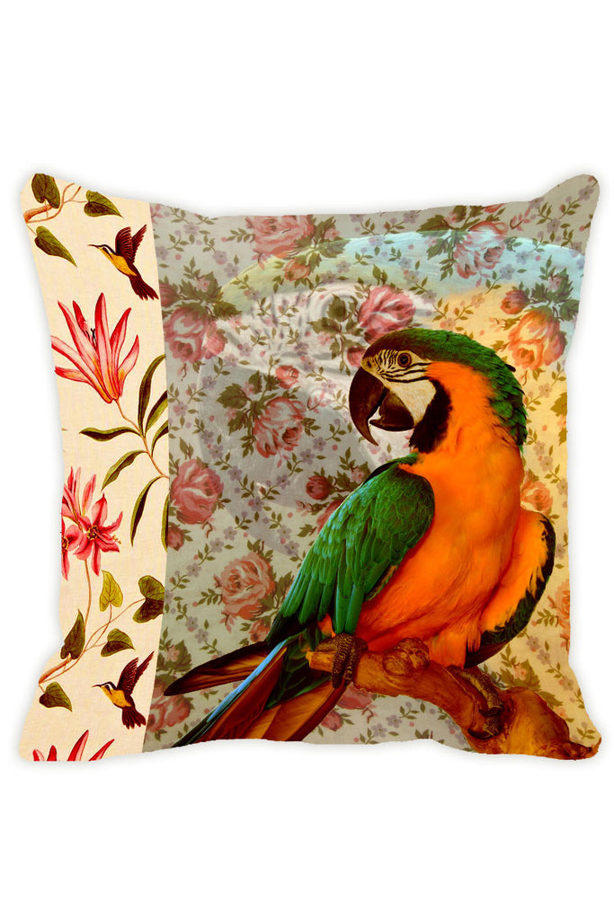 Leaf Designs Grey Green Parrot Cushion Cover - Set Of 2