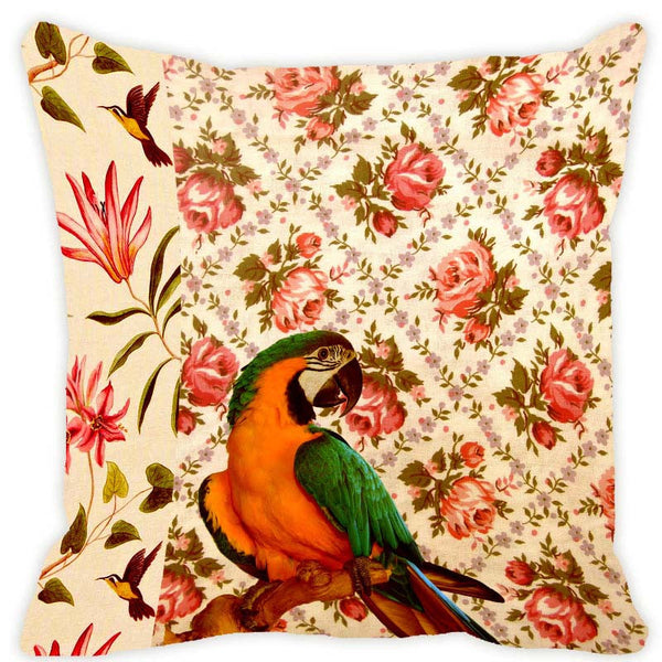 Leaf Designs Ecru Parrot Cushion Cover