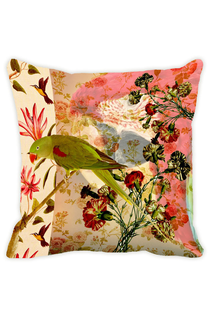 Leaf Designs Peach Parrot Cushion Cover - Set Of 2