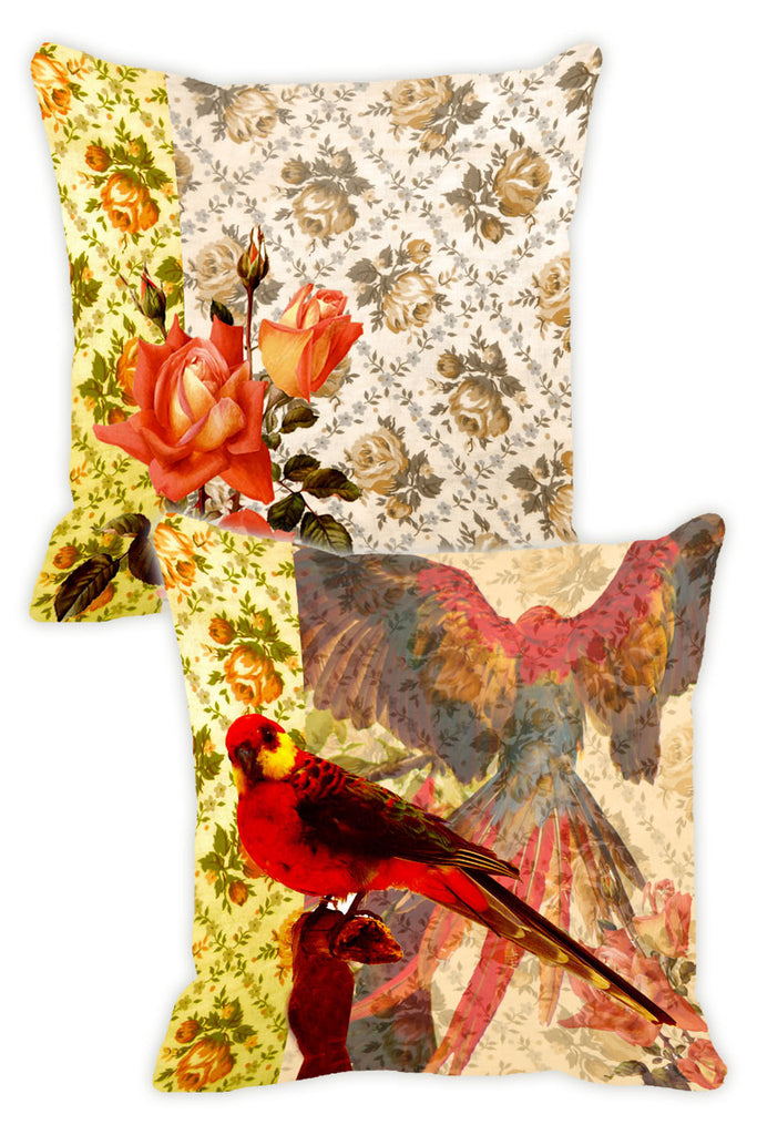 Leaf Designs Lemon Parrot Cushion Cover - Set Of 2