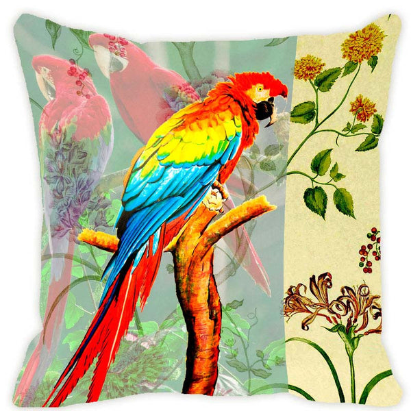 Leaf Designs Pale Green Parrot Cushion Cover