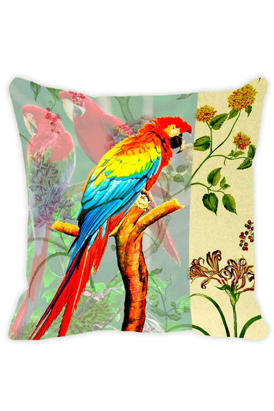 Leaf Designs Pale Green Parrot Cushion Cover - Set Of 2