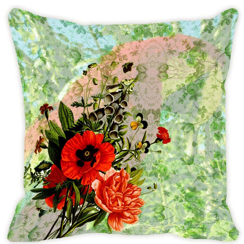 Leaf Designs Soft Green Parrot Cushion Cover