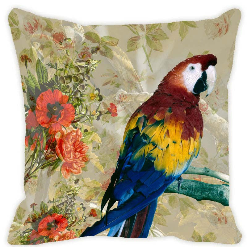 Leaf Designs Light Taupe Parrot Cushion Cover