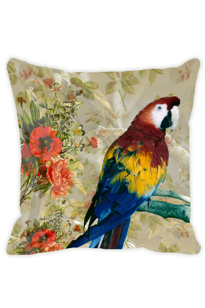 Leaf Designs Light Taupe Parrot Cushion Cover - Set Of 2
