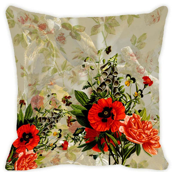 Leaf Designs Light Taupe Blossom Cushion Cover
