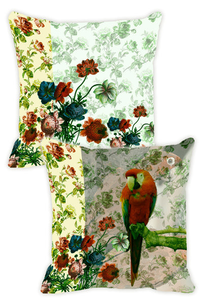 Leaf Designs Lemon & Green Parrot Cushion Cover - Set Of 2