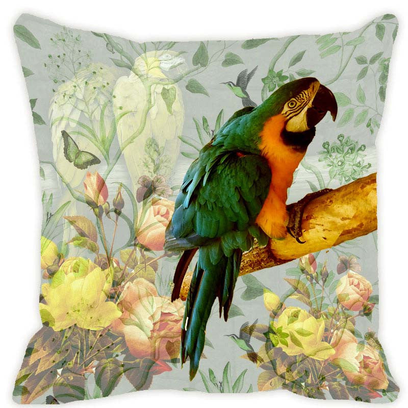 Leaf Designs Light Green & Lemon Parrot Cushion Cover