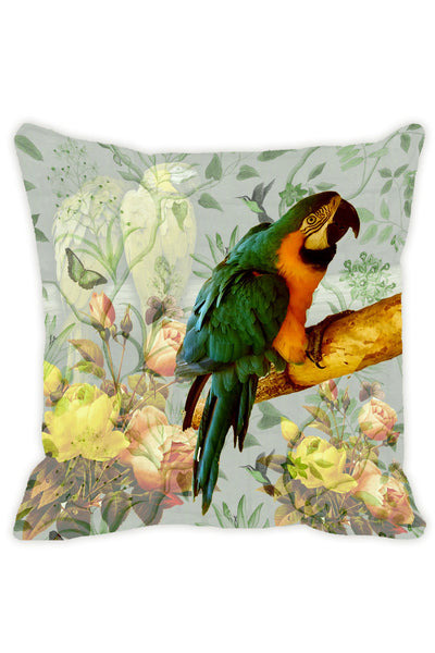 Leaf Designs Light Green & Lemon Parrot Cushion Cover - Set Of 2