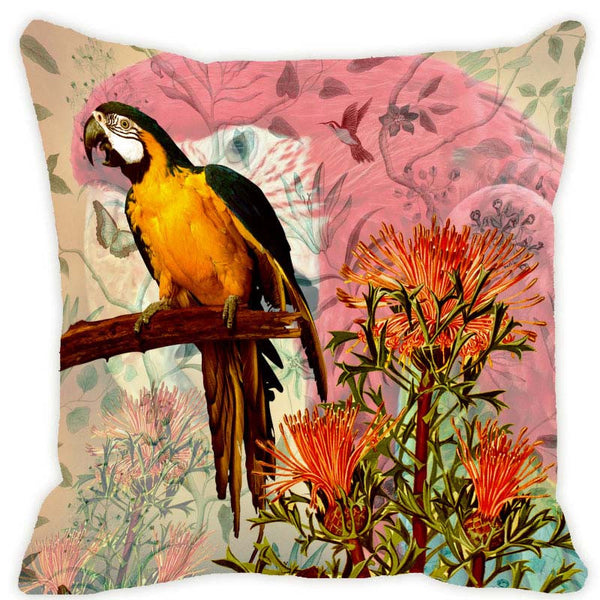 Leaf Designs Taupe & Red Parrot Cushion Cover