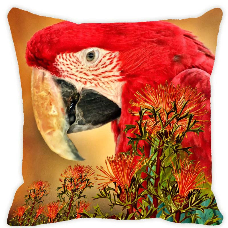 Leaf Designs Mustard & Red Parrot Cushion Cover