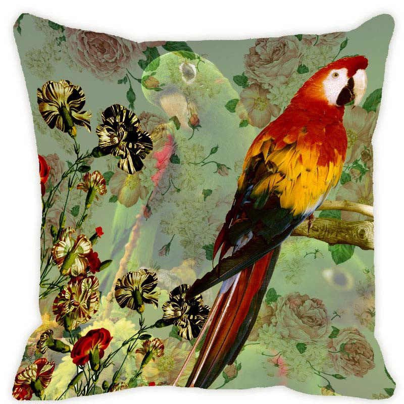 Leaf Designs Green & Red Parrot Cushion Cover