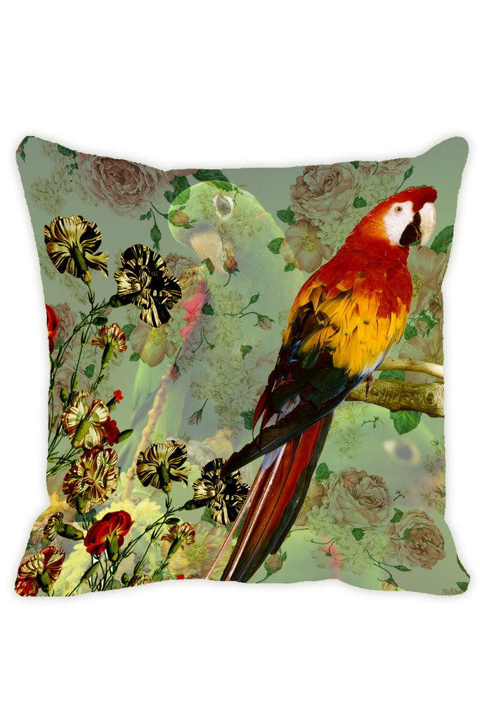 Leaf Designs Green & Red Parrot Cushion Cover - Set Of 2