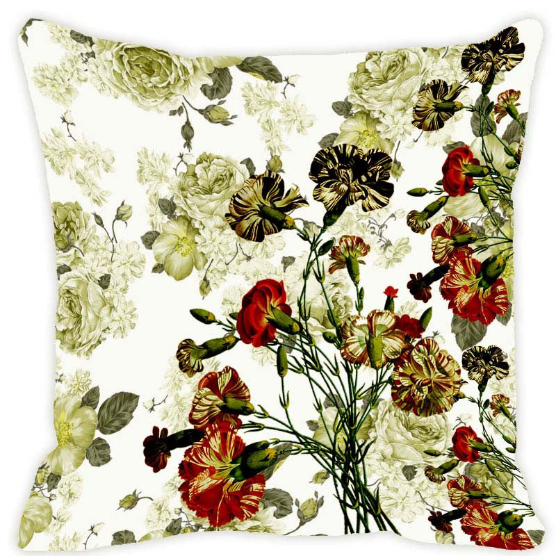 Leaf Designs Green & Red Blossom Cushion Cover