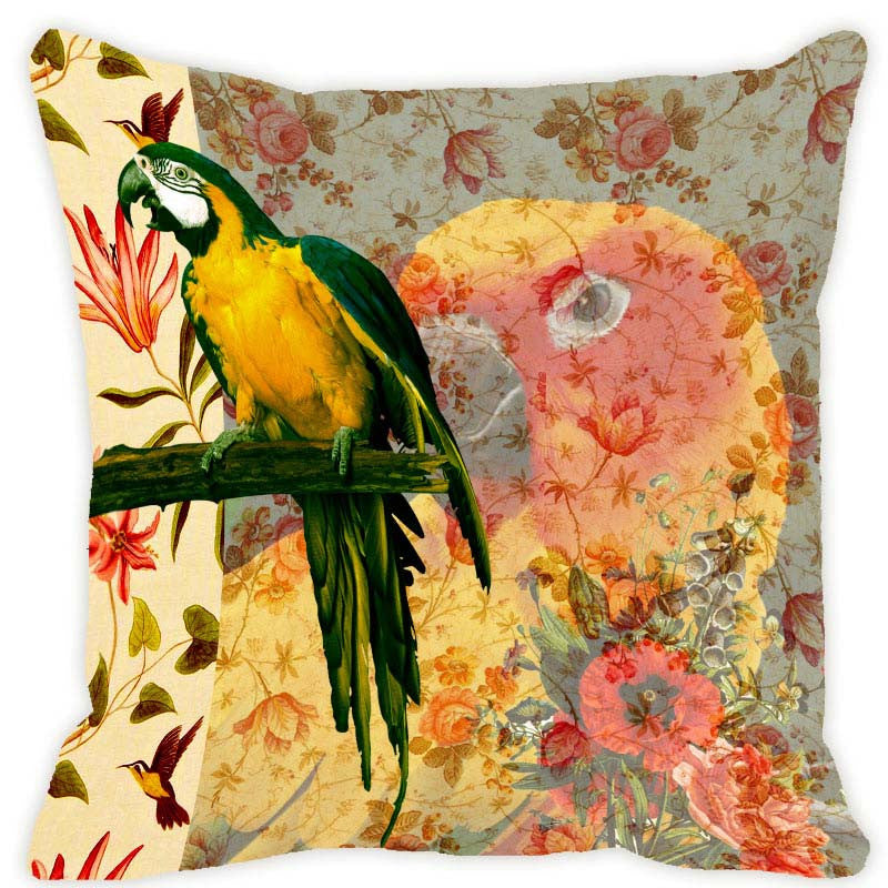 Leaf Designs Lemon Yellow Parrot Cushion Cover