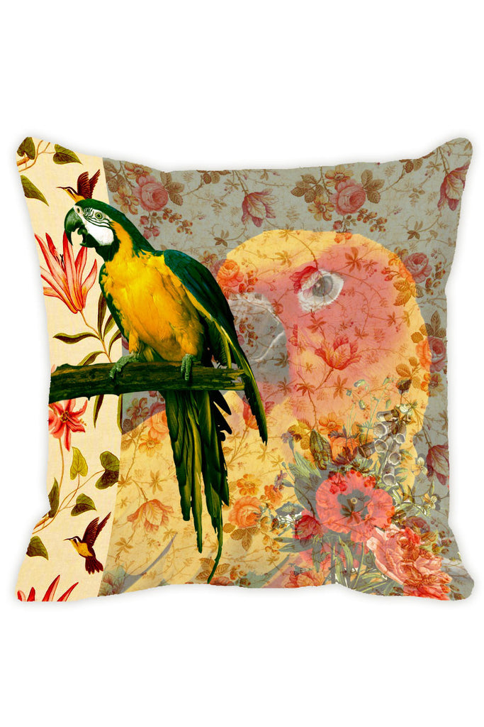 Leaf Designs Lemon Yellow Parrot Cushion Cover - Set Of 2