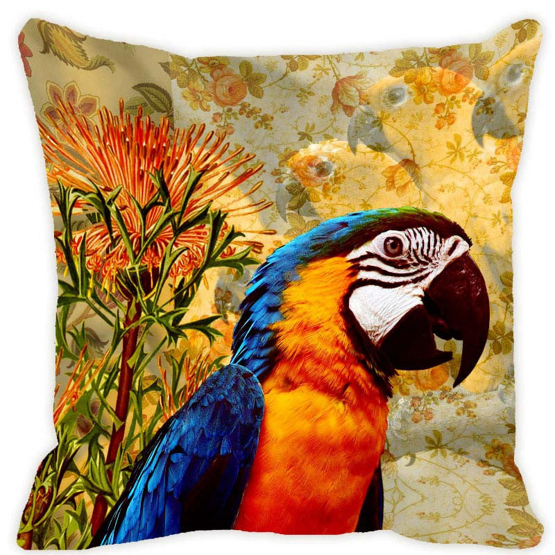 Leaf Designs Blue & Orange Parrot Cushion Cover
