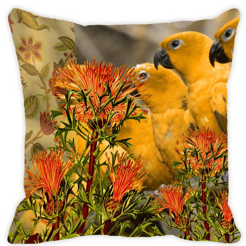 Leaf Designs Yellow & Orange Parrot Cushion Cover