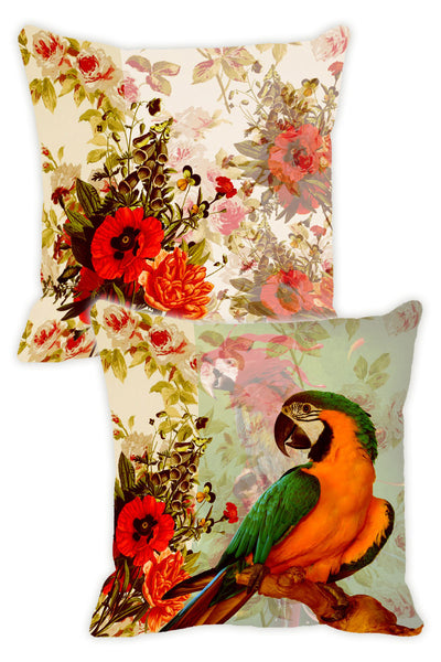 Leaf Designs Red & Orange Parrot Cushion Cover - Set Of 2