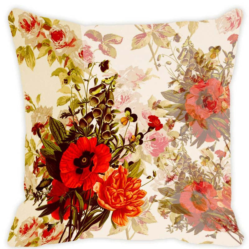 Leaf Designs Beige & Red Blossom Cushion Cover