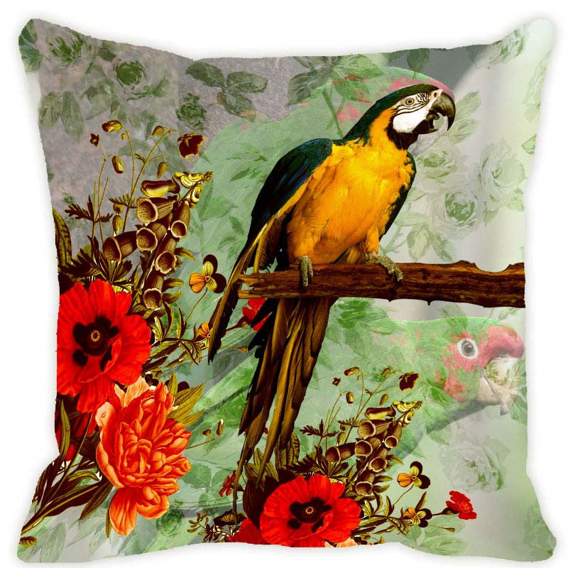 Leaf Designs Green Tones Parrot Cushion Cover