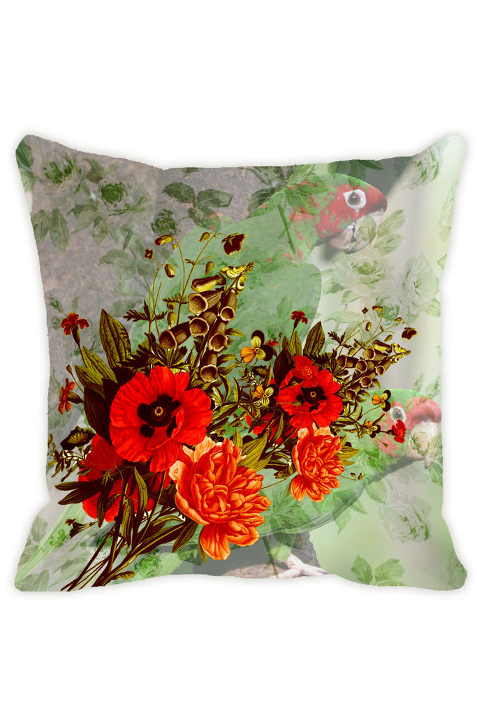 Leaf Designs Green Tones Parrot Cushion Cover - Set Of 2
