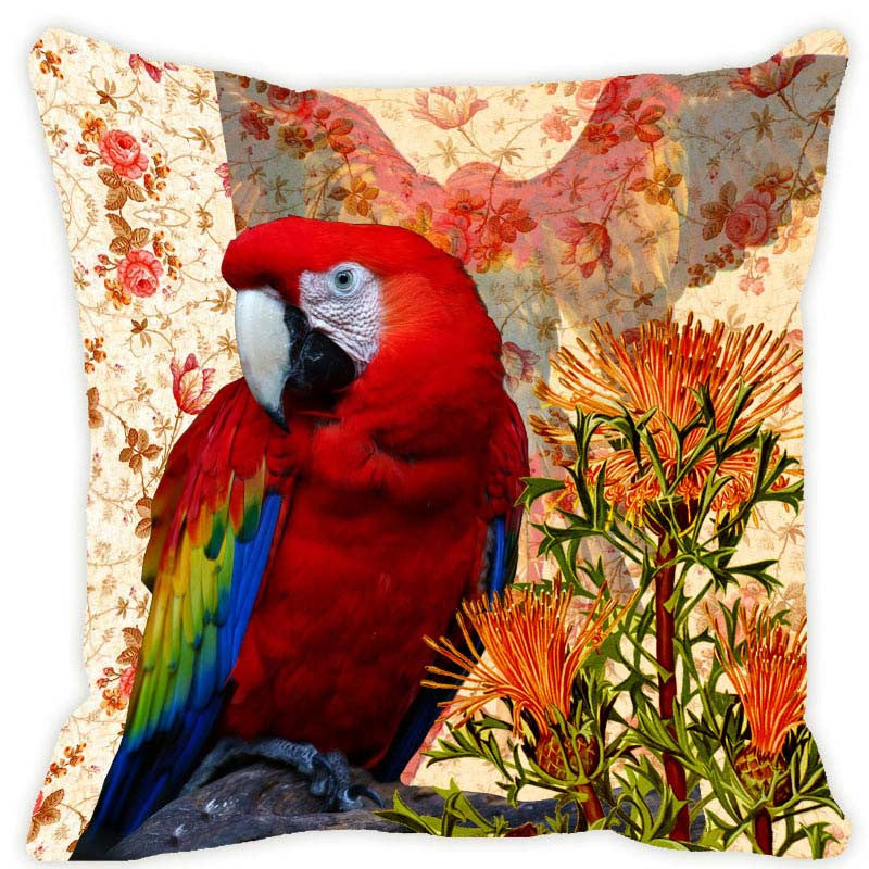 Leaf Designs Orange & Red Parrot Cushion Cover