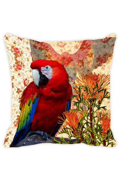 Leaf Designs Orange & Red Parrot Cushion Cover - Set Of 2