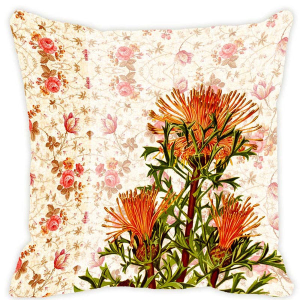Leaf Designs Beige & Orange Blossom Cushion Cover