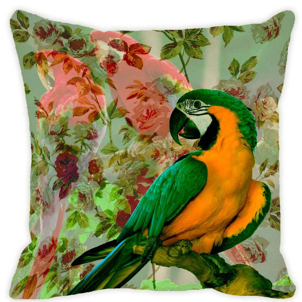 Leaf Designs Orange & Green Parrot Cushion Cover